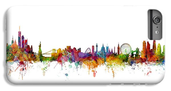 New York And London Skyline Mashup IPhone 6 Plus Case by Michael Tompsett