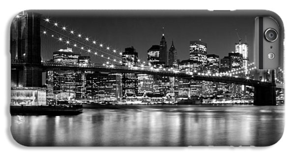 Night Skyline Manhattan Brooklyn Bridge Bw IPhone 6 Plus Case by Melanie Viola