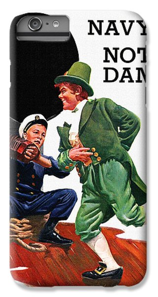 Notre Dame V Navy 1954 Vintage Program IPhone 6 Plus Case by Big 88 Artworks
