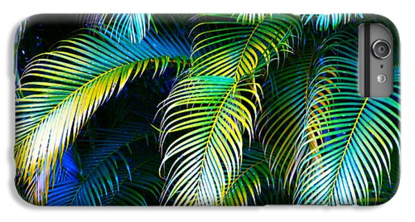 Palm Leaves In Blue IPhone 6 Plus Case by Karon Melillo DeVega