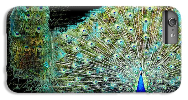 Peacock Pair On Tree Branch Tail Feathers IPhone 6 Plus Case by Audrey Jeanne Roberts