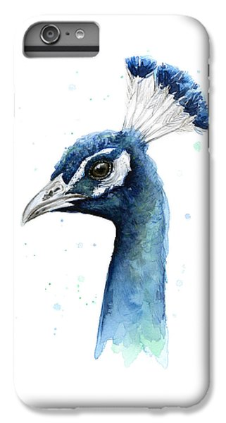 Peacock Watercolor IPhone 6 Plus Case by Olga Shvartsur
