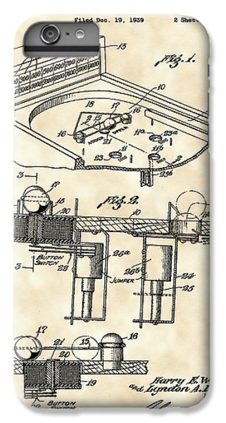 Pinball Machine Patent 1939 - Vintage IPhone 6 Plus Case by Stephen Younts