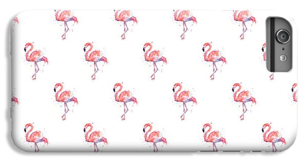 Pink Flamingo Watercolor Pattern IPhone 6 Plus Case by Olga Shvartsur