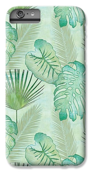 Rainforest Tropical - Elephant Ear And Fan Palm Leaves Repeat Pattern IPhone 6 Plus Case by Audrey Jeanne Roberts