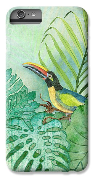 Rainforest Tropical - Tropical Toucan W Philodendron Elephant Ear And Palm Leaves IPhone 6 Plus Case by Audrey Jeanne Roberts
