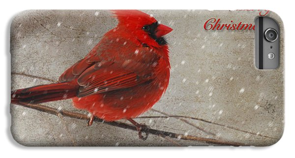 Red Bird In Snow Christmas Card IPhone 6 Plus Case by Lois Bryan