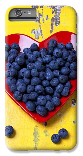 Red Heart Plate With Blueberries IPhone 6 Plus Case by Garry Gay