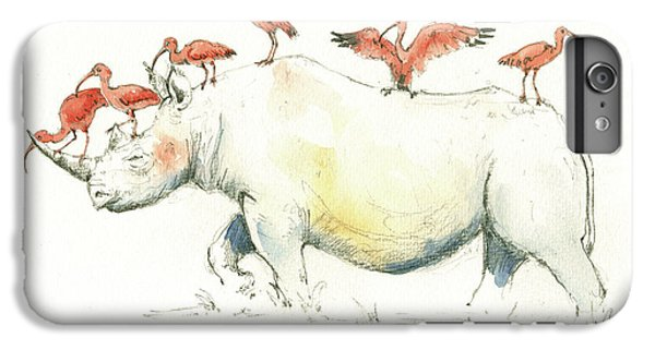 Rhino And Ibis IPhone 6 Plus Case by Juan Bosco