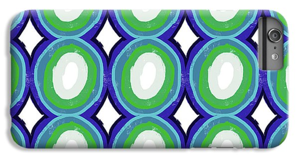 Round And Round Blue And Green- Art By Linda Woods IPhone 6 Plus Case by Linda Woods