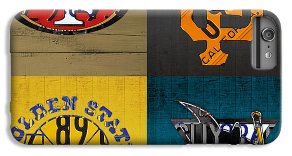 San Francisco Sports Fan Recycled Vintage California License Plate Art 49ers Giants Warriors Sharks IPhone 6 Plus Case by Design Turnpike