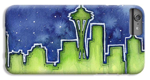 Seattle Night Sky Watercolor IPhone 6 Plus Case by Olga Shvartsur