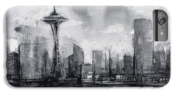 Seattle Skyline Painting Watercolor  IPhone 6 Plus Case by Olga Shvartsur
