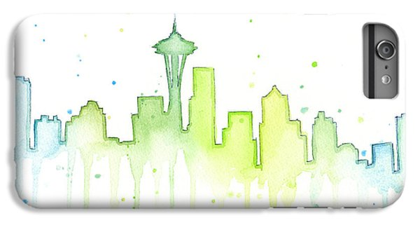 Seattle Skyline Watercolor  IPhone 6 Plus Case by Olga Shvartsur