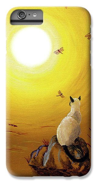 Siamese Cat With Red Dragonflies IPhone 6 Plus Case by Laura Iverson