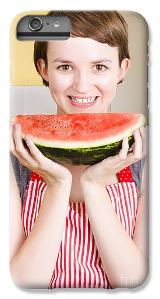Smiling Young Woman Eating Fresh Fruit Watermelon IPhone 6 Plus Case by Jorgo Photography - Wall Art Gallery