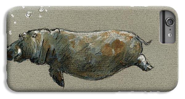 Swimming Hippo IPhone 6 Plus Case by Juan  Bosco