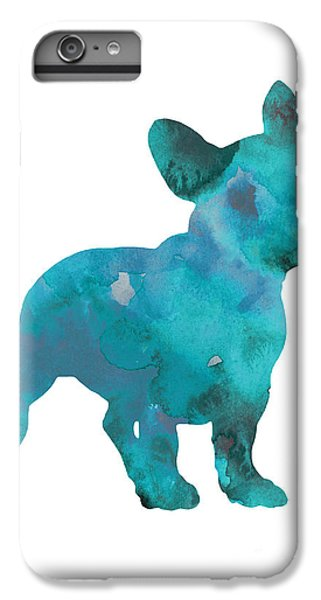 Teal Frenchie Abstract Painting IPhone 6 Plus Case by Joanna Szmerdt