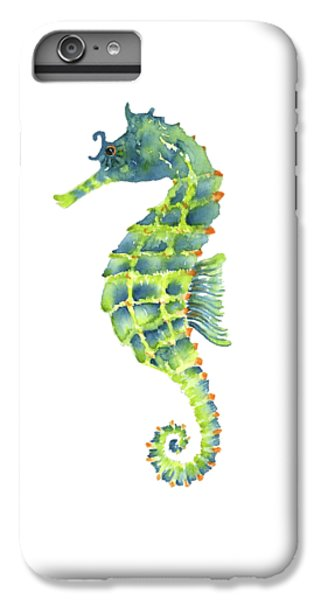 Teal Green Seahorse - Square IPhone 6 Plus Case by Amy Kirkpatrick