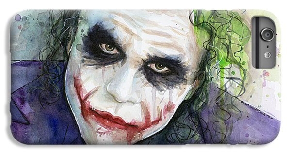 The Joker Watercolor IPhone 6 Plus Case by Olga Shvartsur