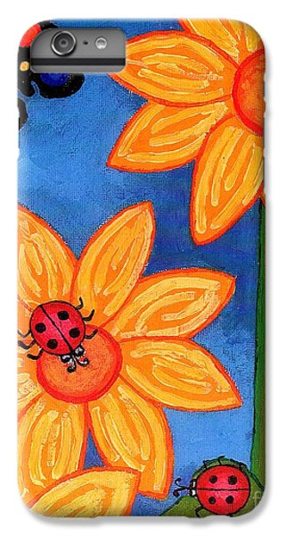 Three Ladybugs And Butterfly IPhone 6 Plus Case by Genevieve Esson