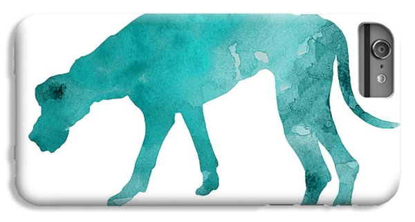 Turquoise Great Dane Watercolor Art Print Paitning IPhone 6 Plus Case by Joanna Szmerdt