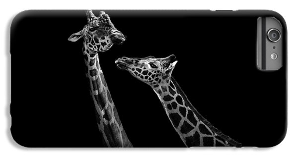 Two Giraffes In Black And White IPhone 6 Plus Case by Lukas Holas