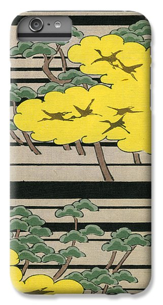 Vintage Japanese Illustration Of An Abstract Forest Landscape With Flying Cranes IPhone 6 Plus Case by Japanese School