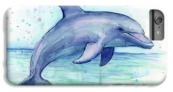 Watercolor Dolphin Painting - Facing Right IPhone 6 Plus Case by Olga Shvartsur