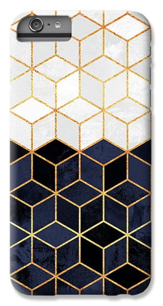 White And Navy Cubes IPhone 6 Plus Case by Elisabeth Fredriksson