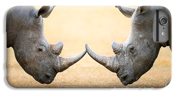 White Rhinoceros  Head To Head IPhone 6 Plus Case by Johan Swanepoel