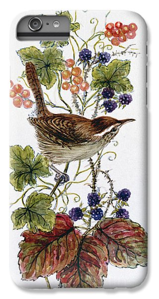 Wren On A Spray Of Berries IPhone 6 Plus Case by Nell Hill