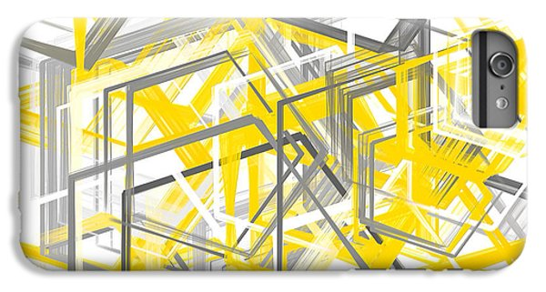 Yellow And Gray Geometric Shapes Art IPhone 6 Plus Case by Lourry Legarde