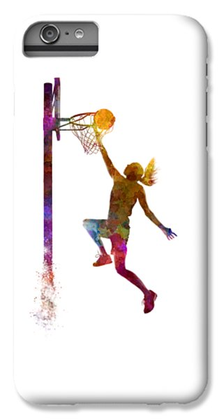 Young Woman Basketball Player 04 In Watercolor IPhone 6 Plus Case by Pablo Romero