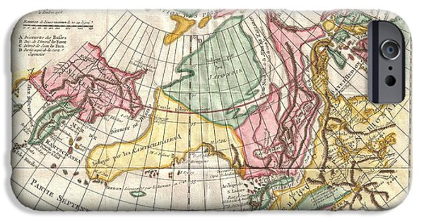 A Truly Fascinating 1772 Map Of The Northwestern Parts Of North America By Robert De Vaugondy And T IPhone Case by Paul Fearn