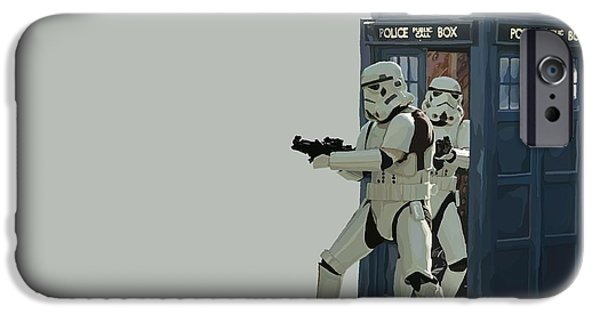 163. Inform Lord Vader We Have The Tardis IPhone Case by Tam Hazlewood