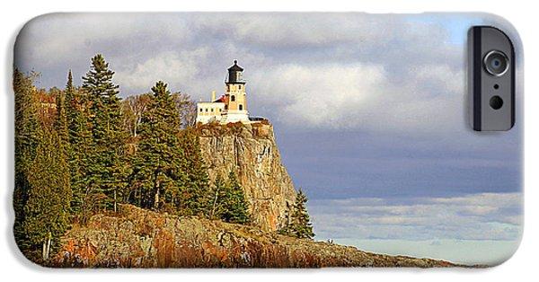 0376 Split Rock Lighthouse IPhone Case by Steve Sturgill