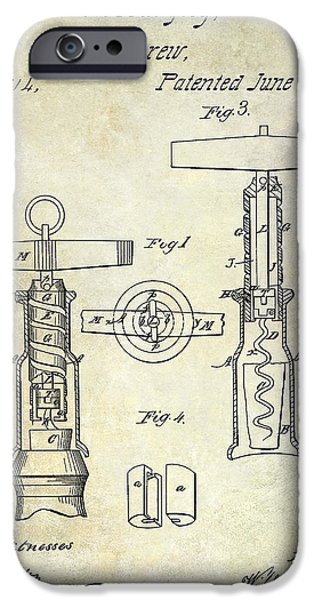 1862 Corkscrew Patent Drawing IPhone Case by Jon Neidert