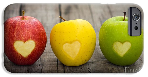Apples With Engraved Hearts IPhone Case by Aged Pixel