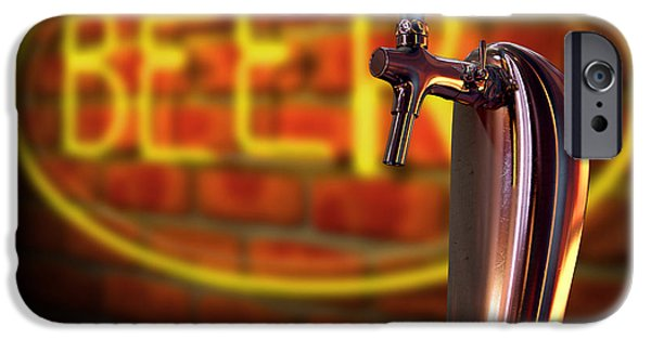 Faucet IPhone Case featuring the digital art Beer Tap Single With Neon Sign by Allan Swart