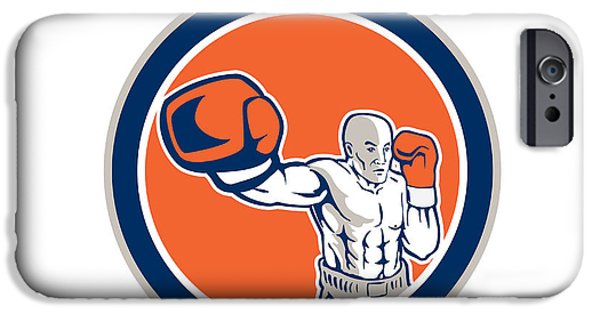 Boxer Boxing Punching Jabbing Circle Retro IPhone Case by Aloysius Patrimonio