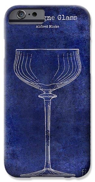 Champagne Glass Patent Drawing Blue IPhone Case by Jon Neidert