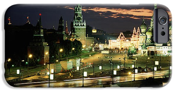 City Lit Up At Night, Red Square IPhone 6s Case by Panoramic Images