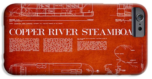 Copper River Steamboats Blueprint IPhone Case by Aged Pixel