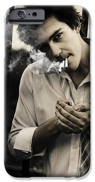 Depressed Business Man Smoking 3 Cigarettes IPhone Case by Jorgo Photography - Wall Art Gallery