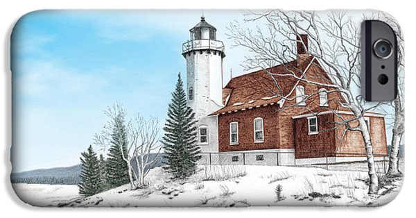 Eagle Harbor Lighthouse IPhone Case by Darren Kopecky