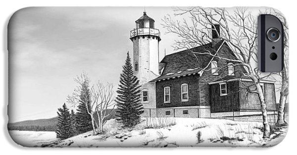 Eagle Harbor Lighthouse Titled IPhone Case by Darren Kopecky