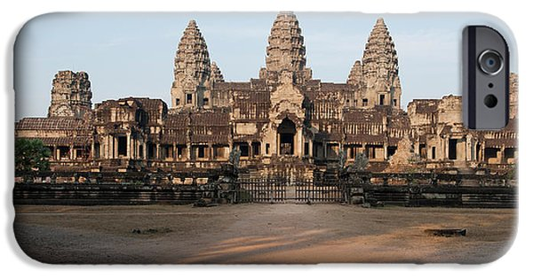 Facade Of A Temple, Angkor Wat, Angkor IPhone Case by Panoramic Images