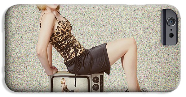 Female Television Show Actress On Old Tv Set IPhone Case by Jorgo Photography - Wall Art Gallery