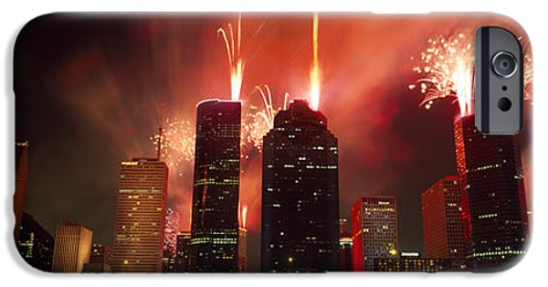 Fireworks Over Buildings In A City IPhone Case by Panoramic Images